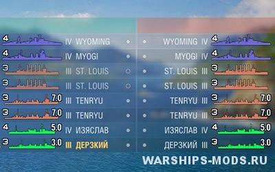 цветные иконки кораблей от DeCease для World of Warships